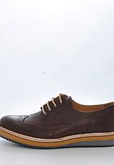 Knowledge Cotton Apparel - Brogue Shoe Dark Earth