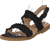 Angulus - Sandal With Ruffles And Buckle Black