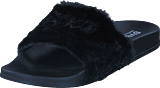 Svea - Alex Fur Slipper Black
